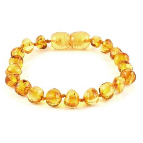 Amber Teething Bracelet - Honey Polished Baroque - Pacifier