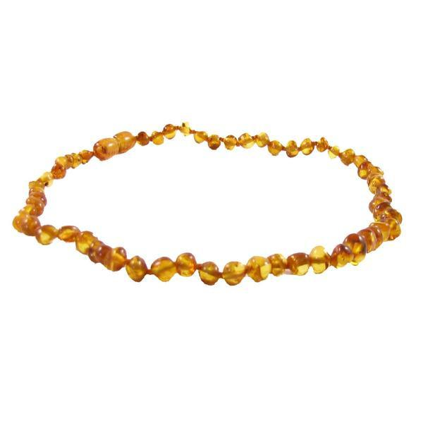 Amber Teething Necklace - Honey Polished Baroque - Pacifier