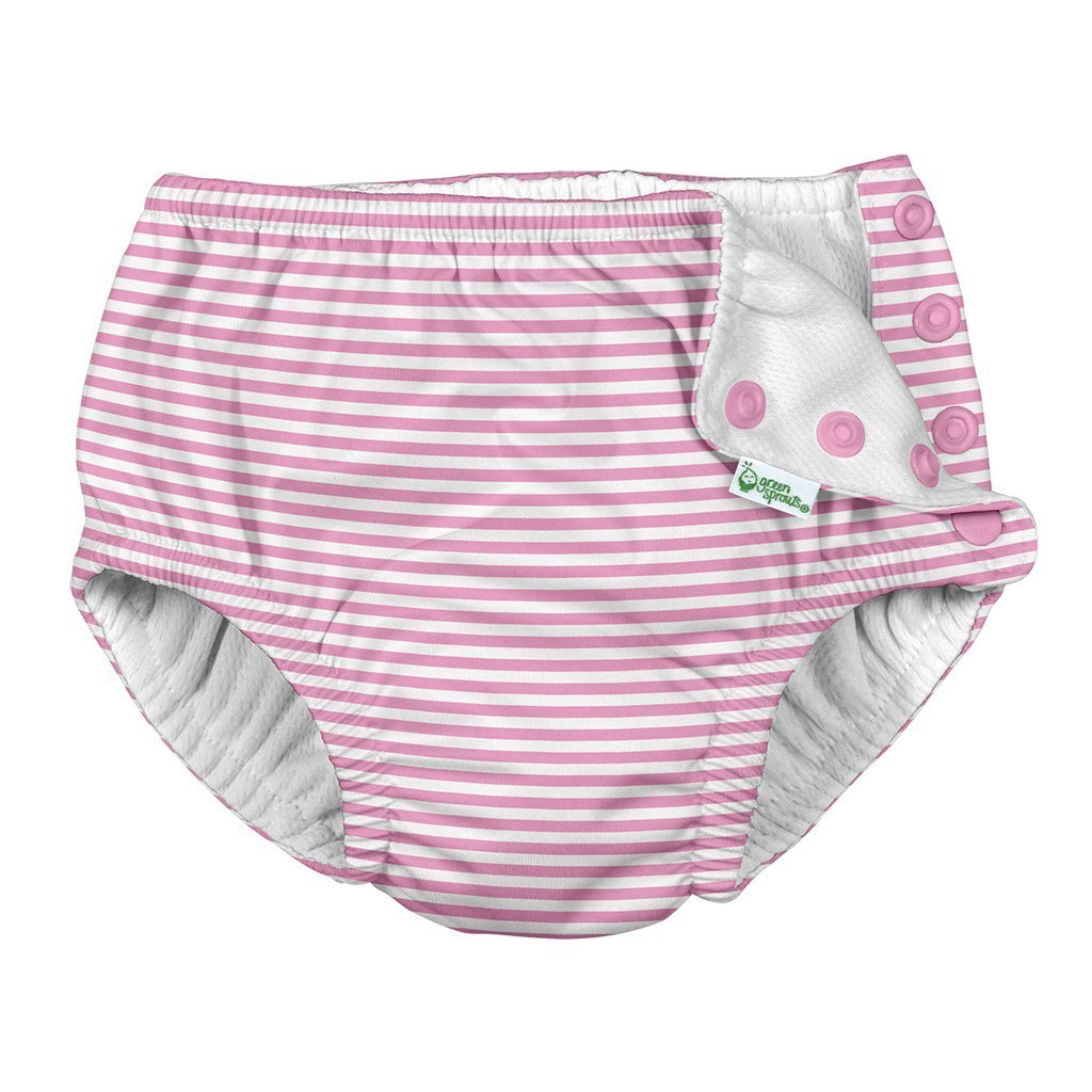Snap Reusable Absorbent Swim Diaper - Light Pink Stripe by iPlay