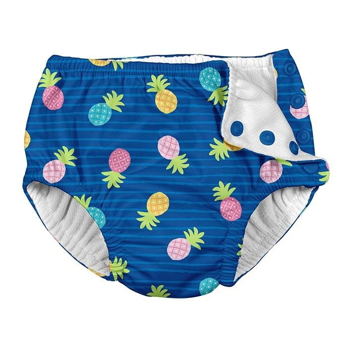 Ultimate Snap Reusable Absorbent Swim Diaper - Blue Pineapple Stripe by iPlay iPlay Apparel