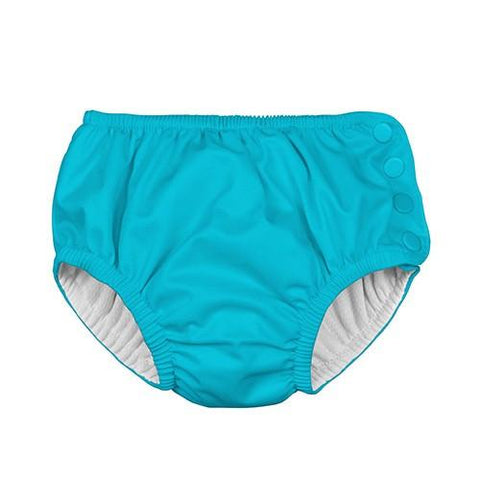 Snap Reusable Absorbent Swim Diaper - Aqua by iPlay - Pacifier