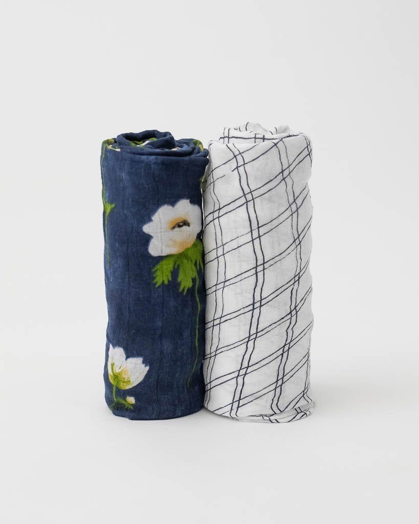 Deluxe Bamboo Swaddle 2-Pack - White Anemone by Little Unicorn