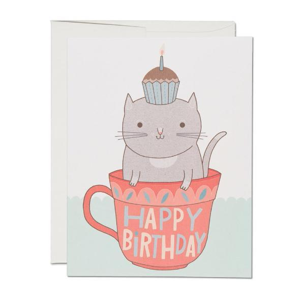 Teacup Cat Card Red Cap Cards Paper Goods