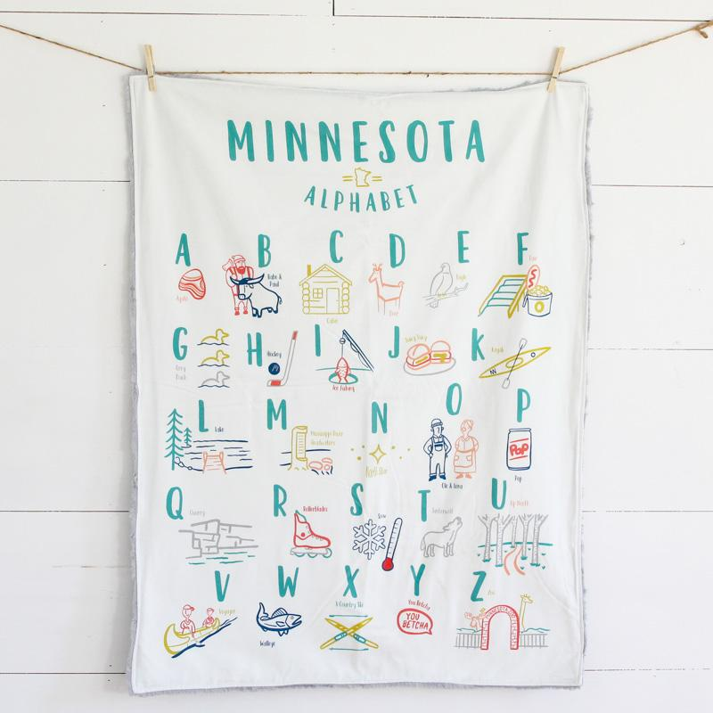 Minnesota Alphabet Baby Blanket and Play Mat - Large Silver Cuddle Abbey's House Bedding