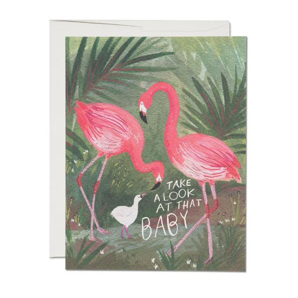 Flamingo Baby Card Red Cap Cards Paper Goods + Party Supplies