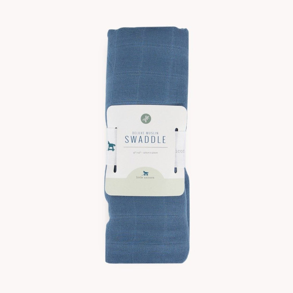 Deluxe Muslin Swaddle Blanket - Blue Dusk by Little Unicorn