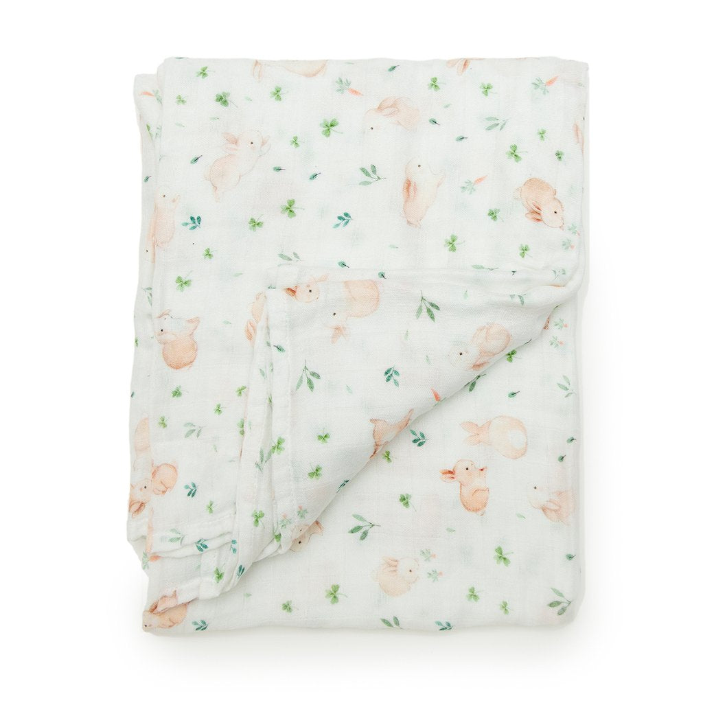 Luxe Muslin Swaddle - Bunny Meadow by Loulou Lollipop