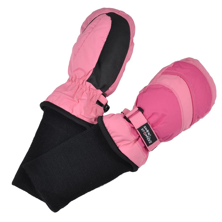Waterproof Stay-On 2 Tone Mittens - Coral Pink and Fuchsia by SnowStoppers