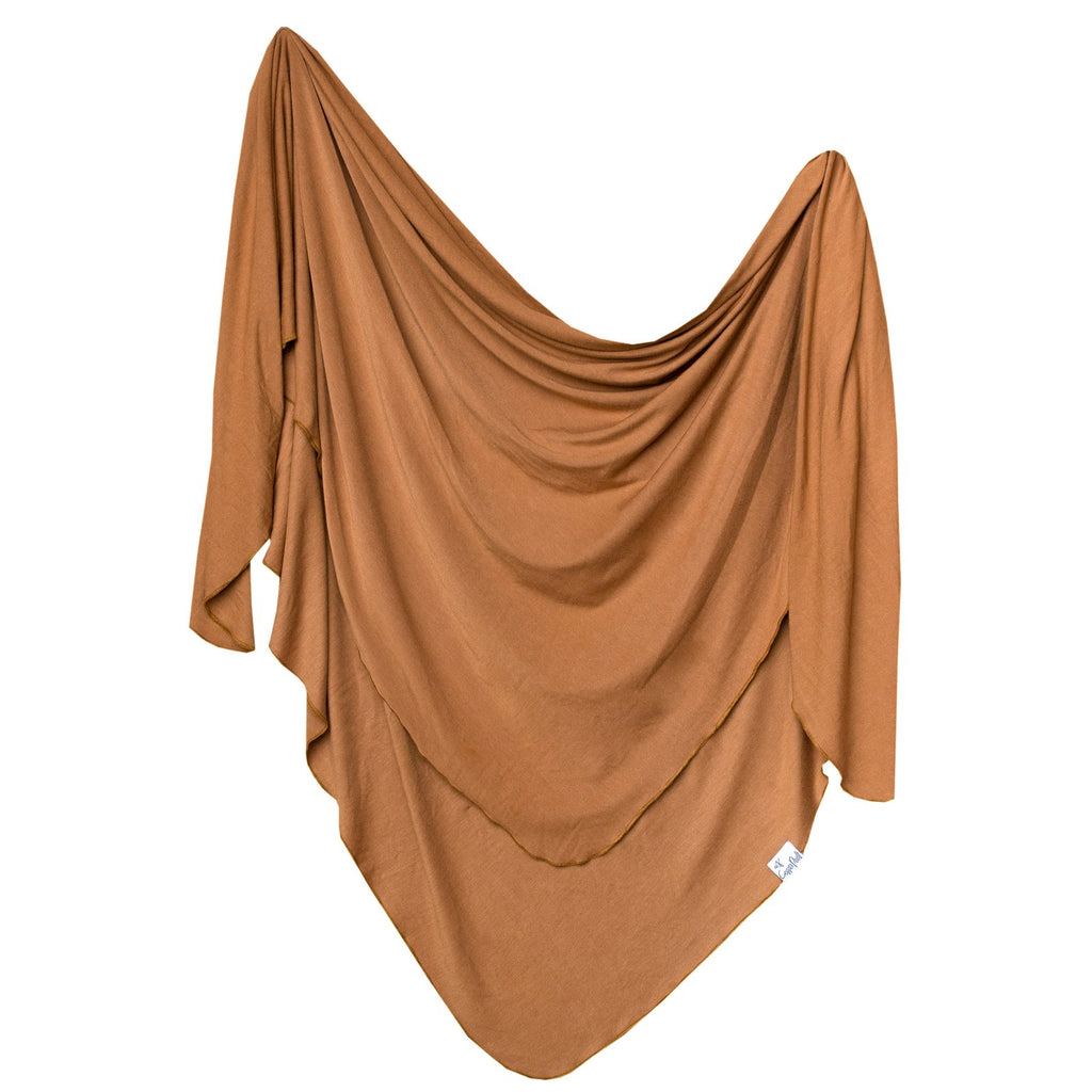 Knit Swaddle Blanket - Camel by Copper Pearl