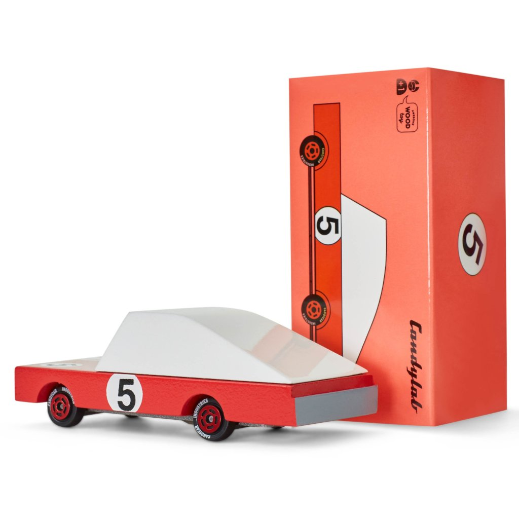 Red Racer #5 Diecast Wooden Car by Candylab Toys