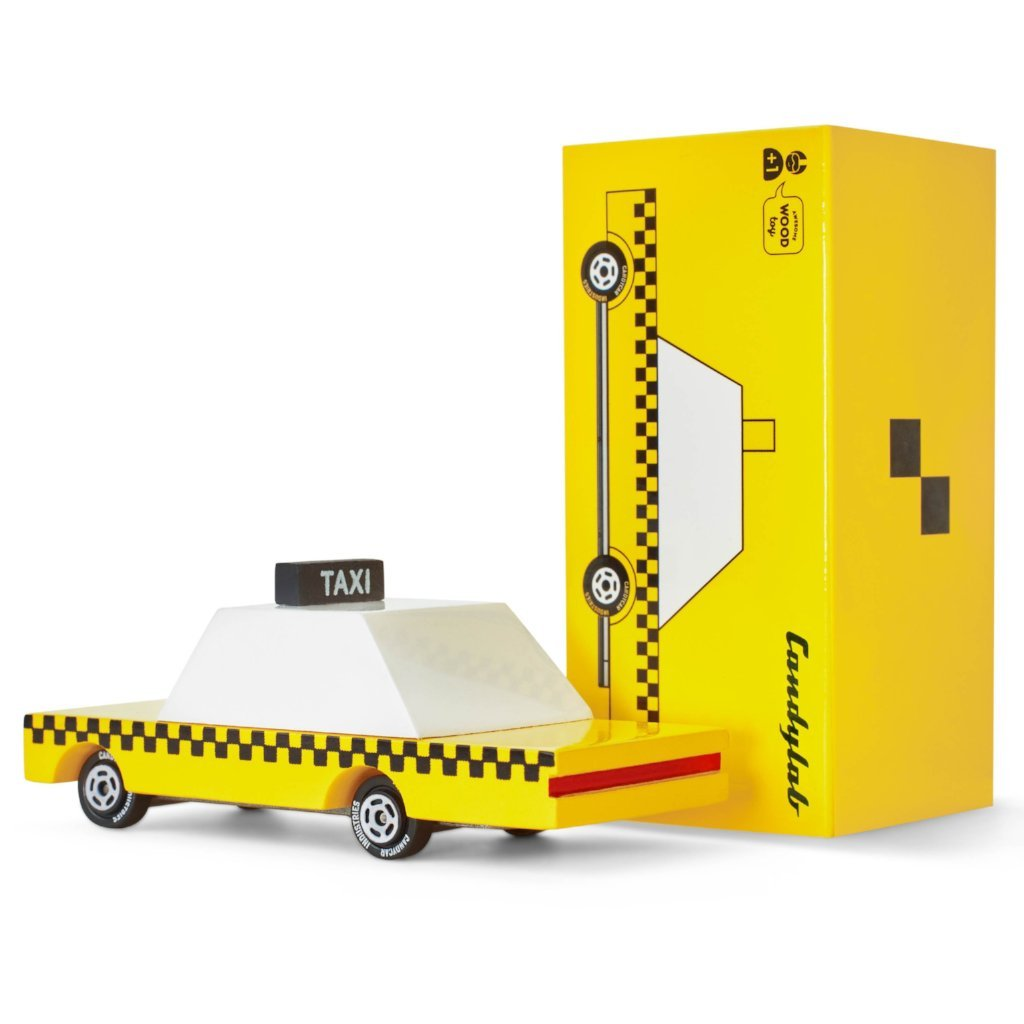 Taxi Turvy Diecast Wooden Car by Candylab Toys Candylab Toys Toys