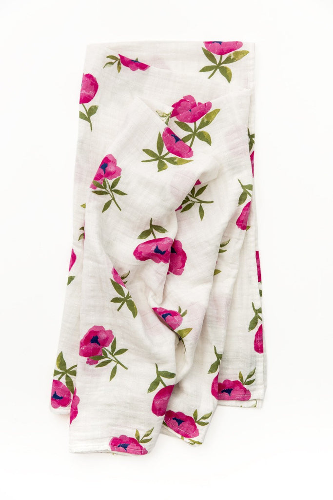 Raspberry Peony Swaddle by Clementine Kids