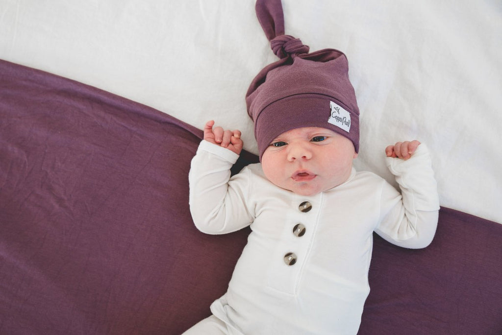 Newborn Top Knot Hat - Plum by Copper Pearl