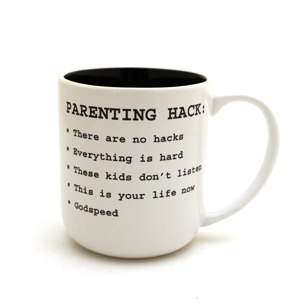 Parenting Hack Mug by Lenny Mud