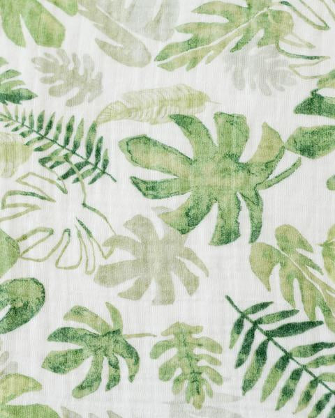 Cotton Muslin Single Swaddle - Tropical Leaf by Little Unicorn - Pacifier