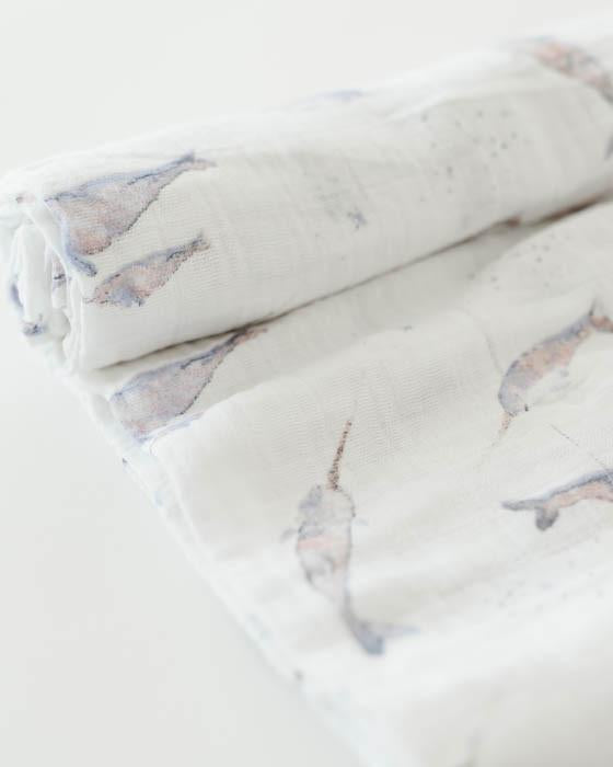 Cotton Muslin Single Swaddle - Narwhal by Little Unicorn