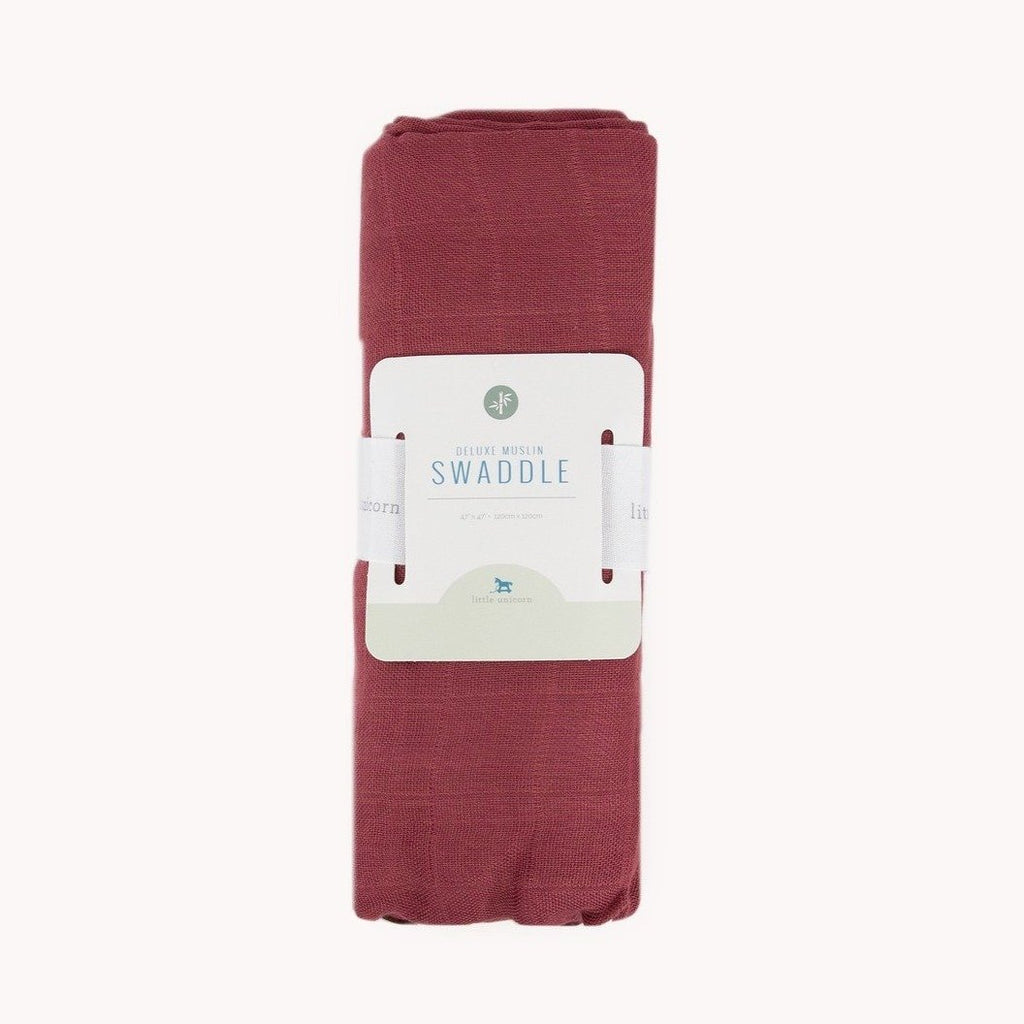 Deluxe Muslin Swaddle Blanket - Dusty Maroon by Little Unicorn