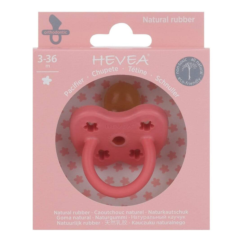 Flower Orthodontic Natural Rubber Pacifier - Coral by Hevea Hevea Infant Care