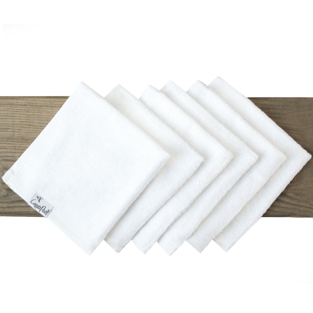 Ultra Soft 6 Pack Wash Cloths - White by Copper Pearl
