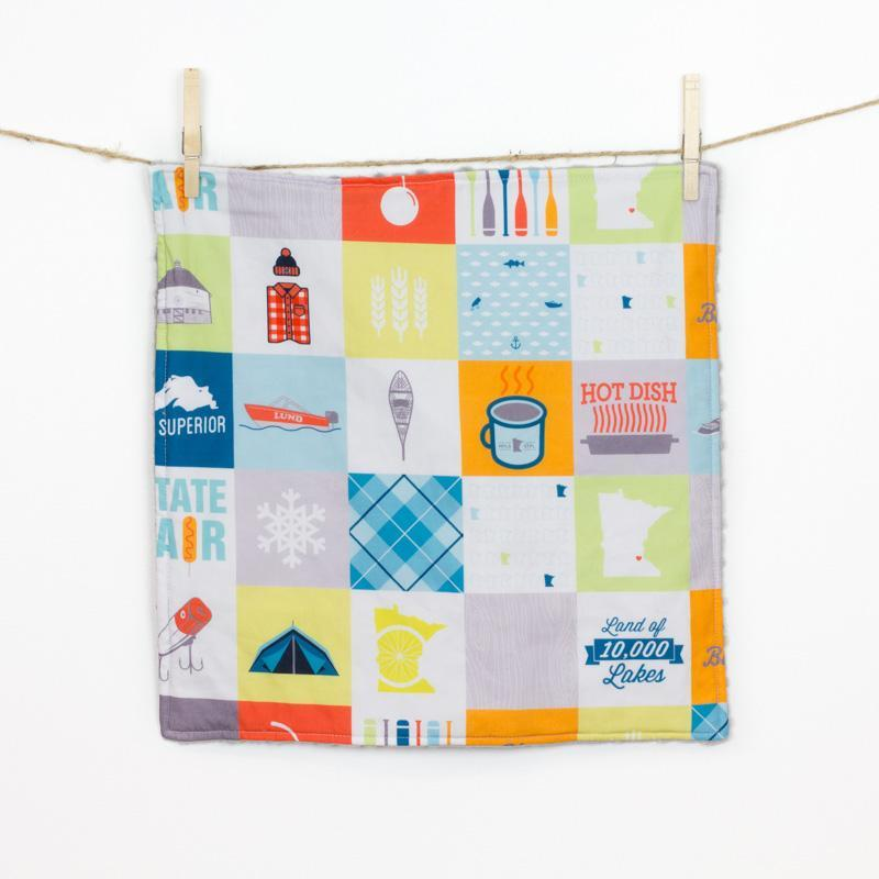 Minnesota Patchwork Baby Security Blanket - Small Silver Cuddle