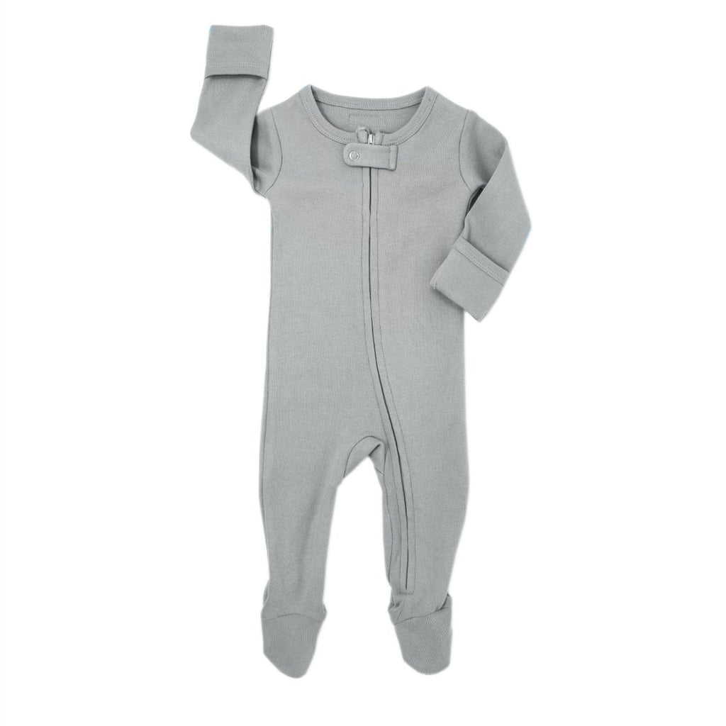 Organic Zipper Footed Overall - Light Grey by Loved Baby