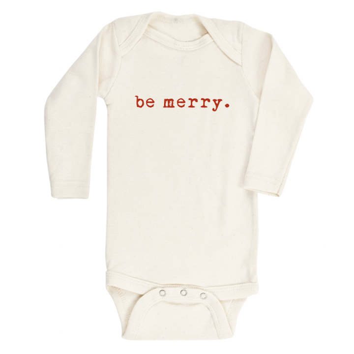 Be Merry Organic Long Sleeve Bodysuit by Tenth & Pine