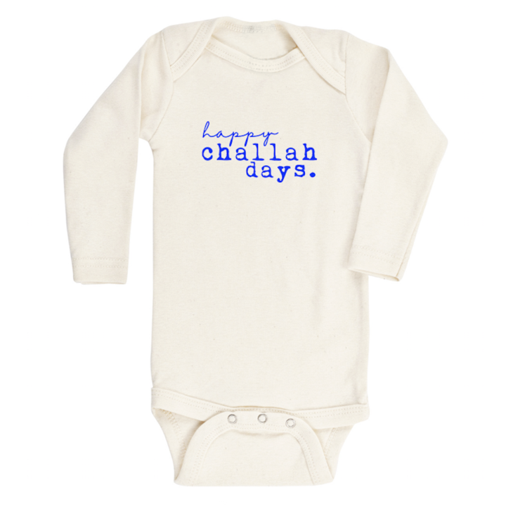 Happy Challah Days Organic Long Sleeve Bodysuit by Tenth & Pine