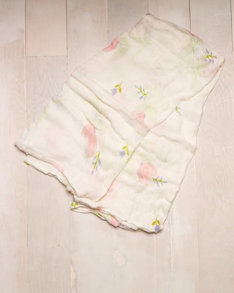 Deluxe Bamboo Single Swaddle - Pink Peony by Little Unicorn - Pacifier