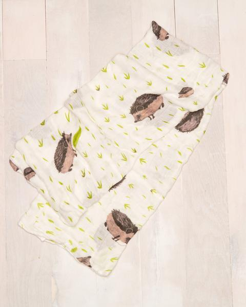 Deluxe Bamboo Single Swaddle - Hedgehog by Little Unicorn - Pacifier