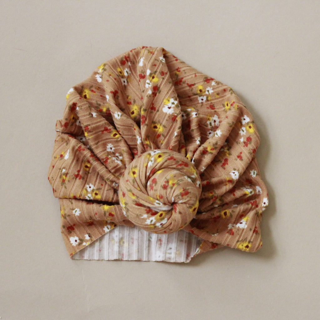 Mini Floral Tan Turban Style Baby Head Wrap