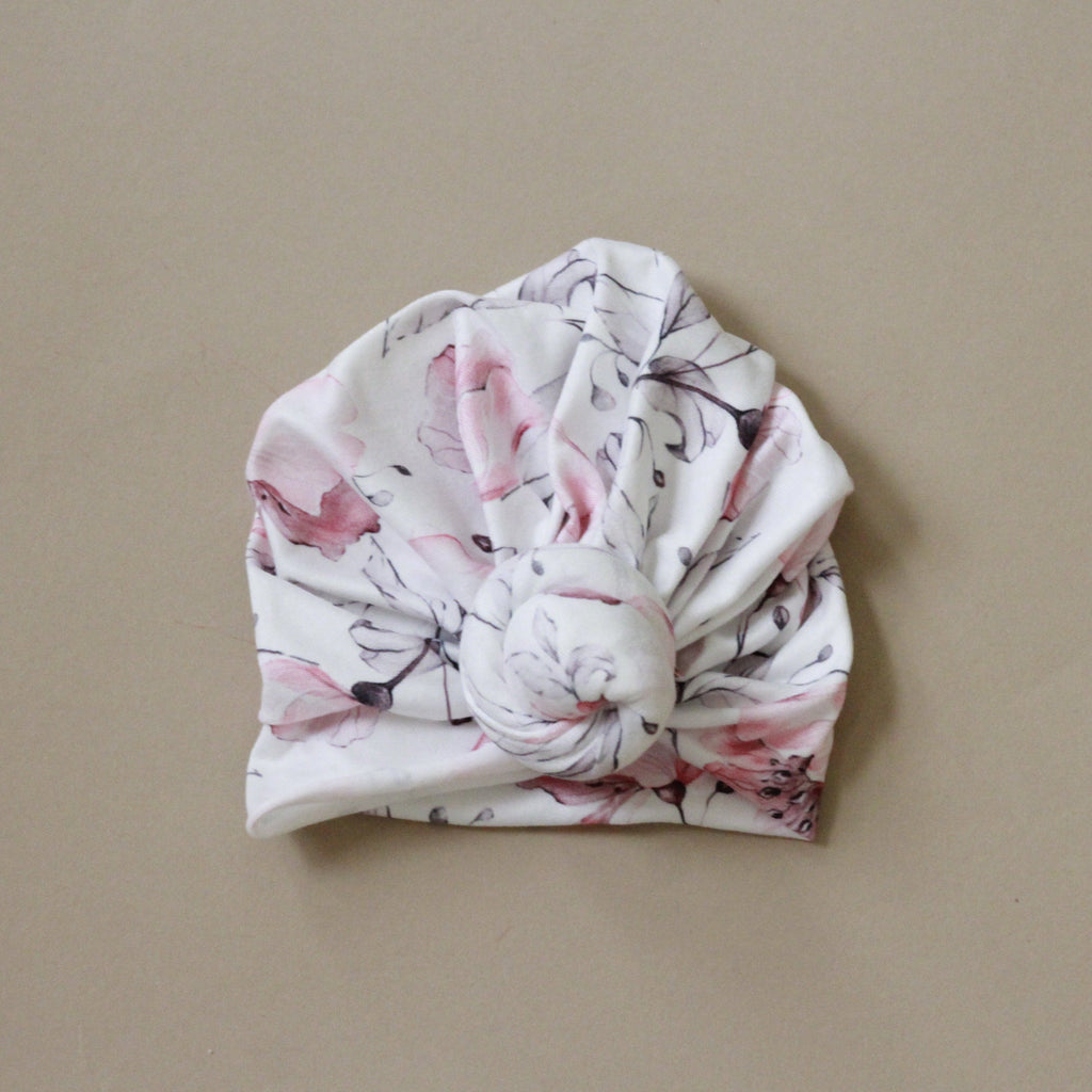 Delilah Floral White Turban Style Baby Head Wrap