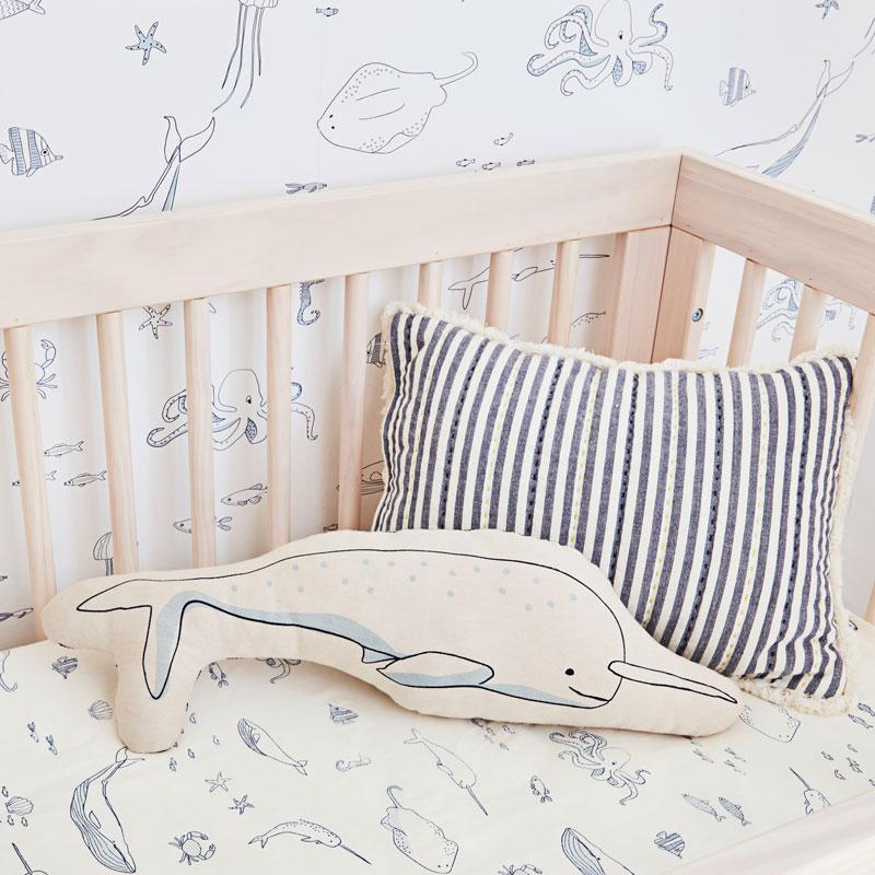 Life Aquatic Pillow - Narwhal by Pehr