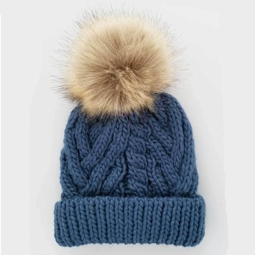 Pop Knit Hat - Slate Blue by Huggalugs