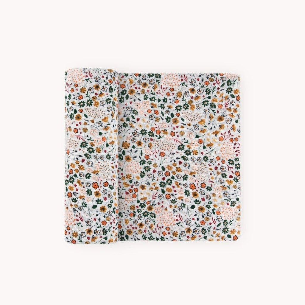 Cotton Muslin Single Swaddle - Pressed Petals by Little Unicorn