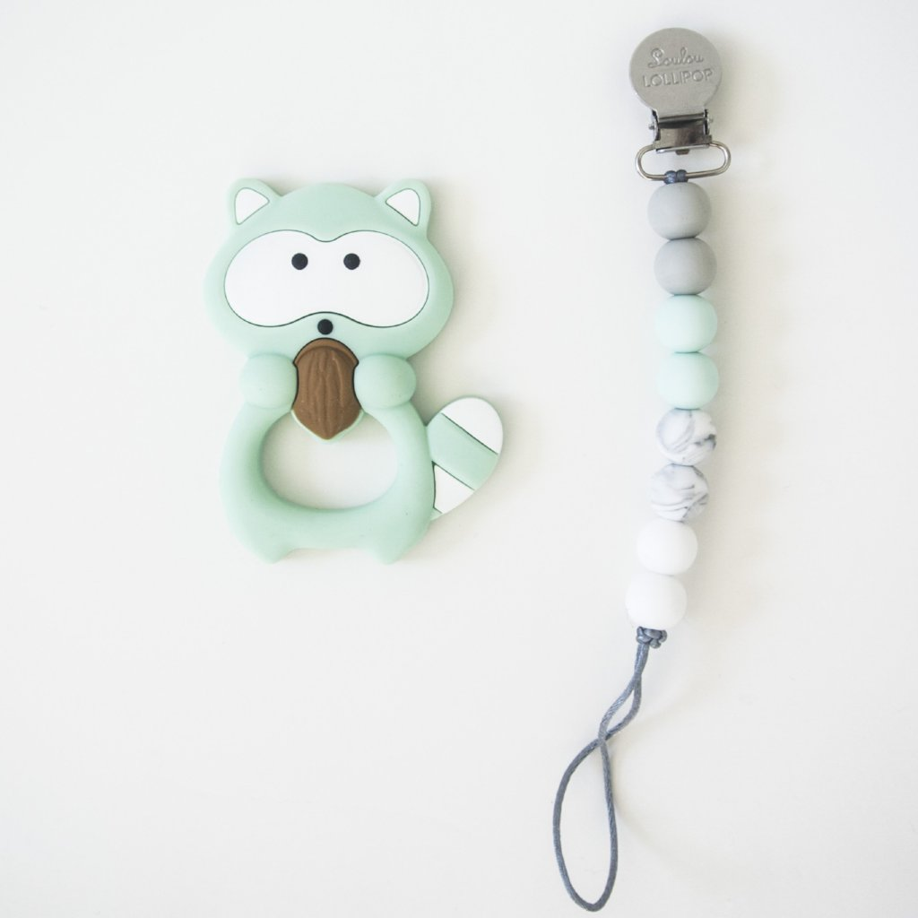 Raccoon Teether Clip - Mint by Loulou Lollipop Loulou Lollipop Toys