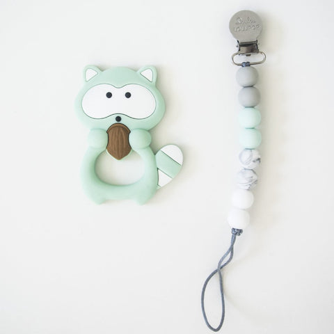 Raccoon Teether Set - Mint by Loulou Lollipop