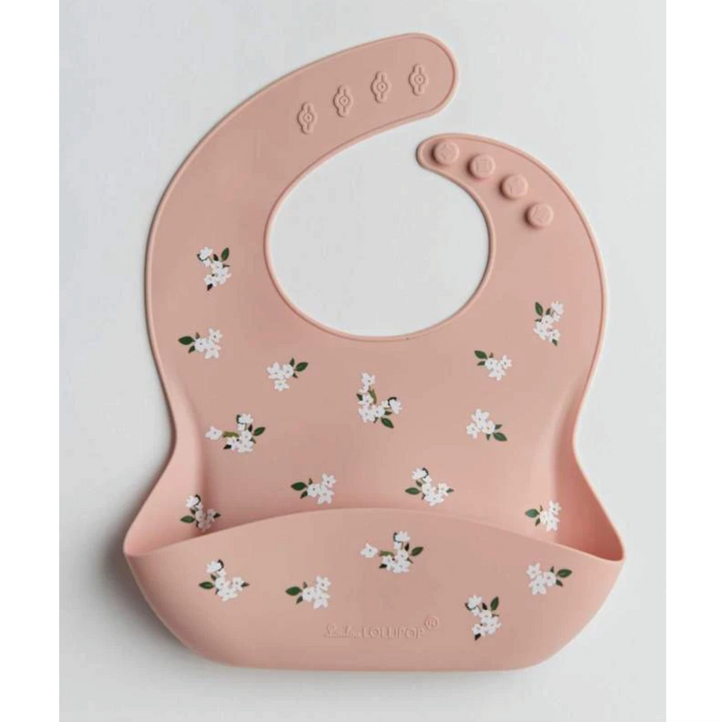 Silicone Bib - White Flower by Loulou Lollipop