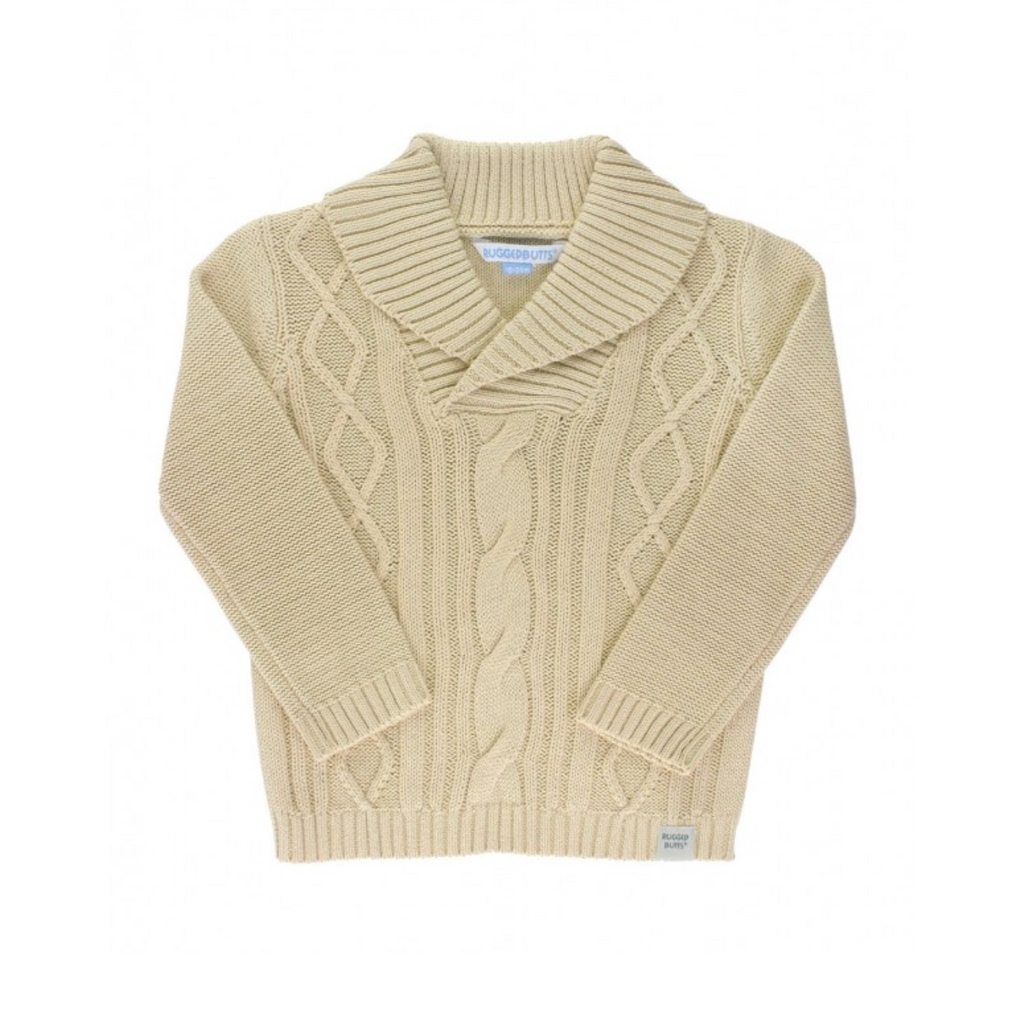 Khaki Cable-Knit Shawl Collar Sweater by RuggedButts