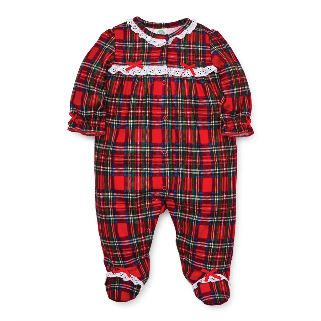 Lace Trim Holiday Plaid Footie by Little Me