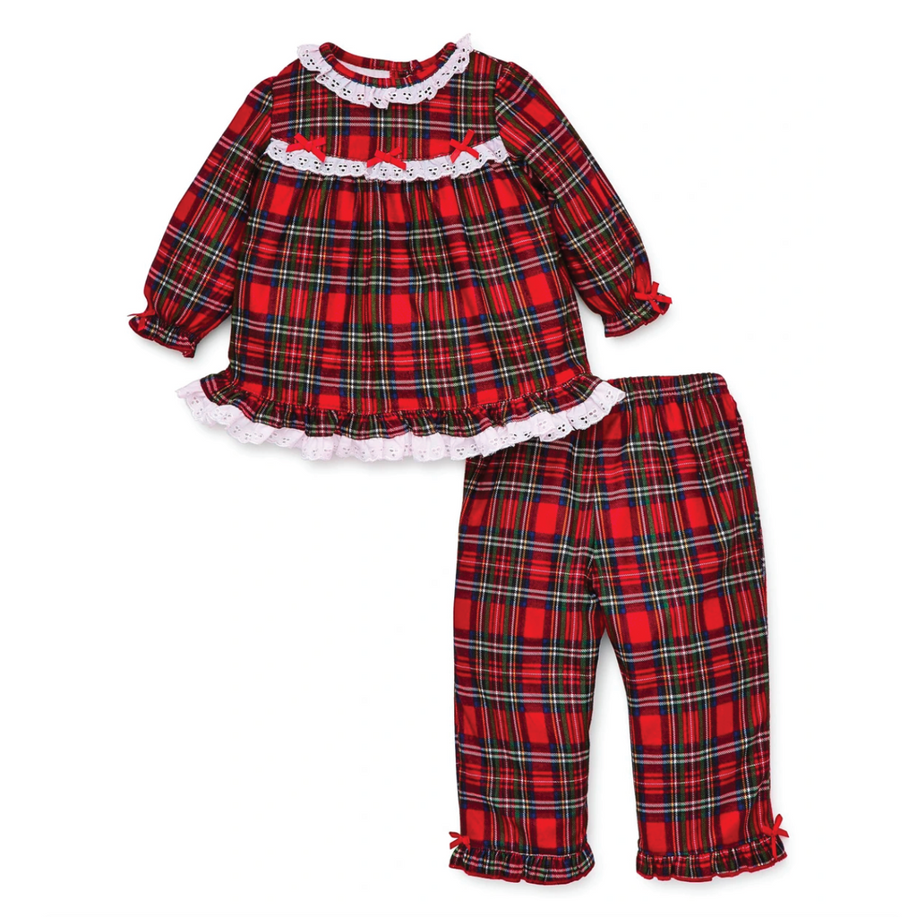 Lace Trim Holiday Plaid 2 Pc Pajama Set by Little Me