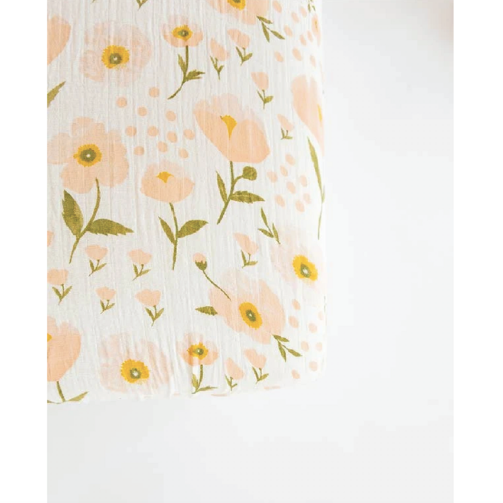 Cotton Muslin Crib Sheet - Blush Bloom by Clementine Kids