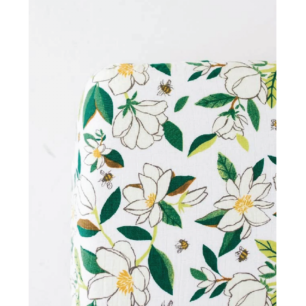 Cotton Muslin Crib Sheet - Magnolia by Clementine Kids