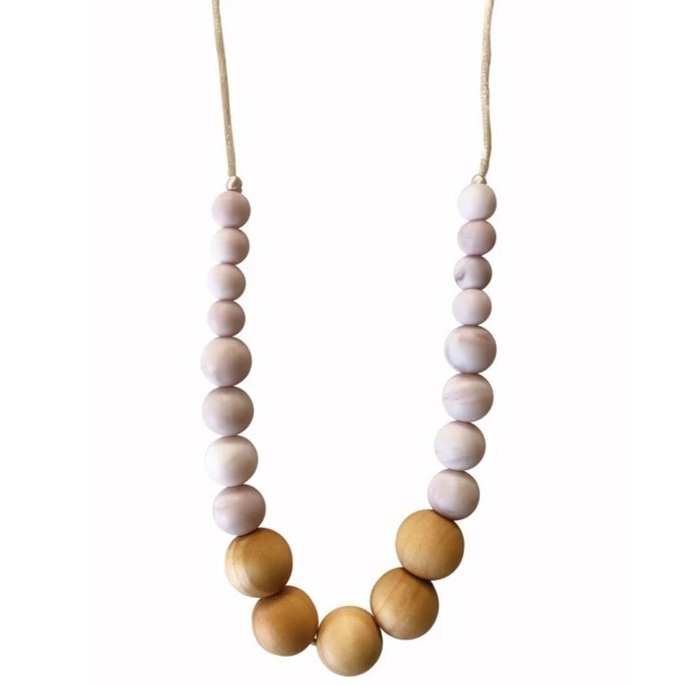 Landon Teething Necklace - Rose Quartz by Chewable Charm