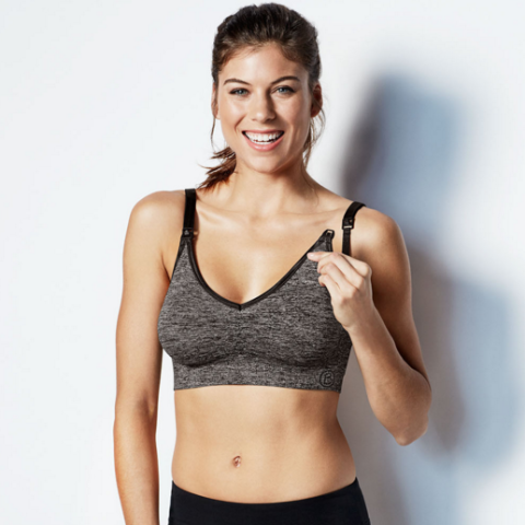 Bravado Body Silk Seamless Yoga Nursing Bra - Char Heather - Pacifier