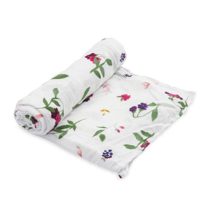 Deluxe Bamboo Single Swaddle - Berry Patch by Little Unicorn