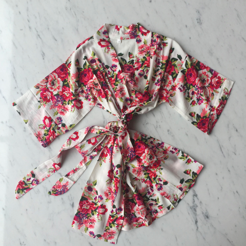 Kids Robe - Ivory Floral / 3-5Y by May and Joy