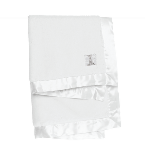 Luxe Solid Baby Blanket - White by Little Giraffe