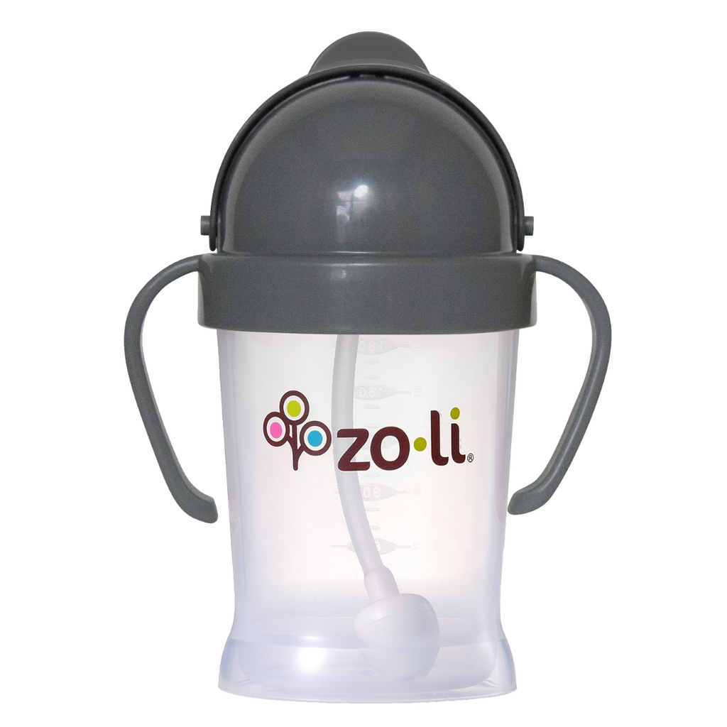 Zoli BOT Straw Sippy Cup 6 oz - Grey