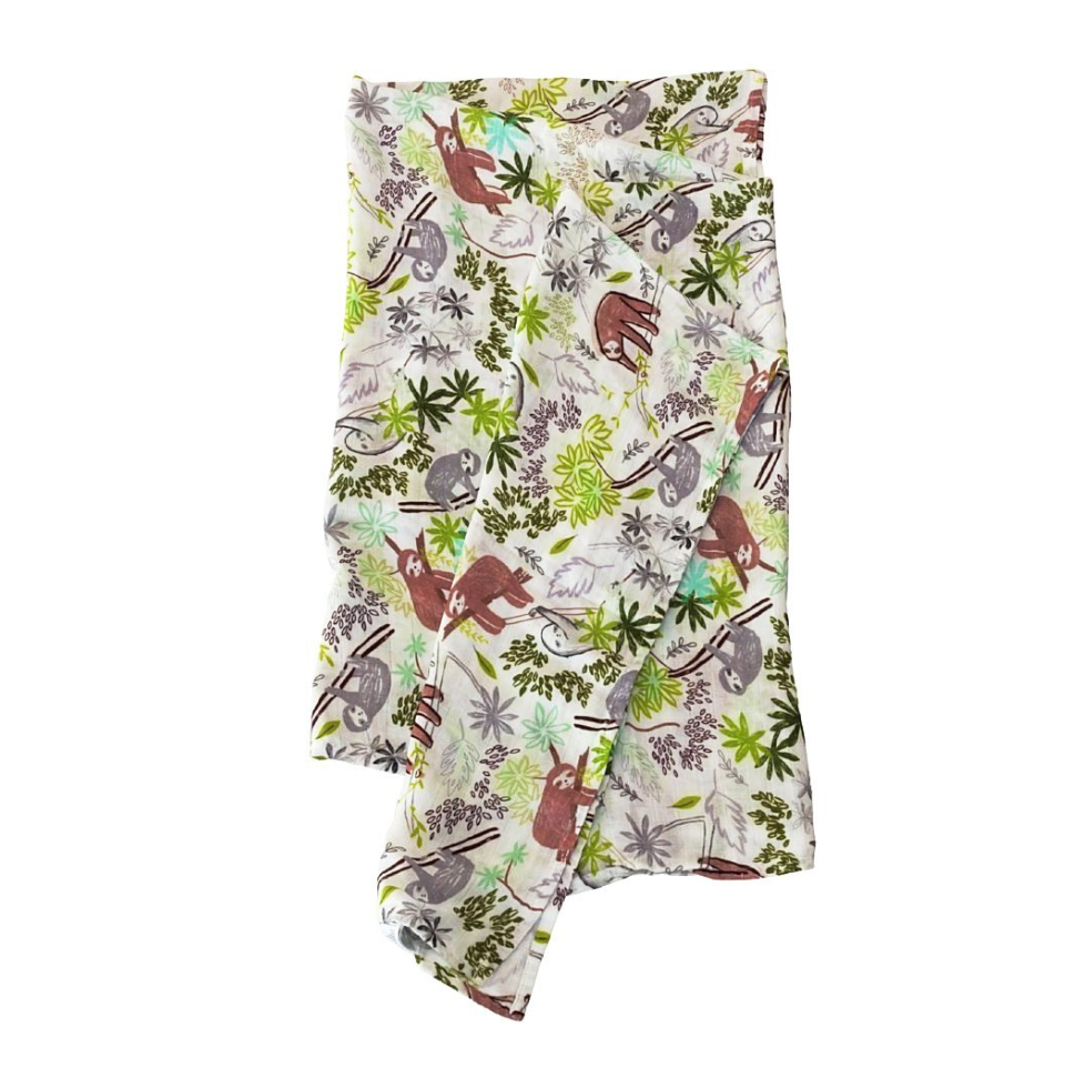 Luxe Muslin Swaddle - Sloth by Loulou Lollipop
