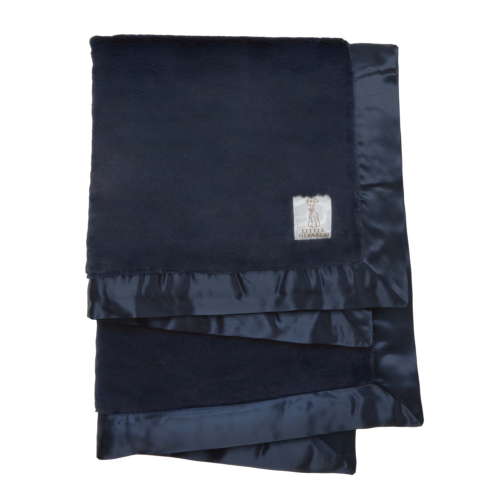 Luxe Solid Baby Blanket - Navy by Little Giraffe